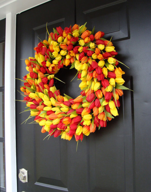 Spring Tulips Wreath by Elegant Holidays - contemporary - outdoor ...