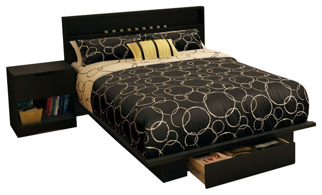 South Shore Trinity Full Queen 4 Piece Bedroom Set in Pure Black transitional-bedroom-furniture-sets