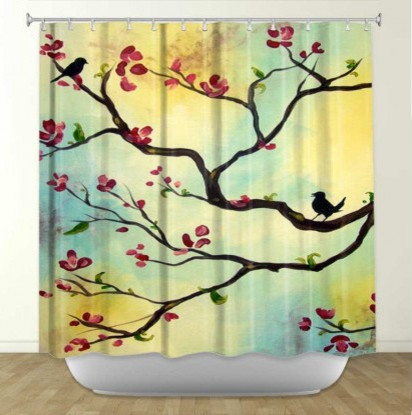 Asian design shower curtain