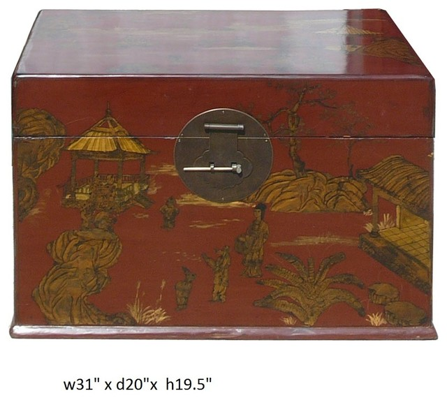 Vintage Chinese Dated Red Golden Graphic Trunk Table asian-living-room