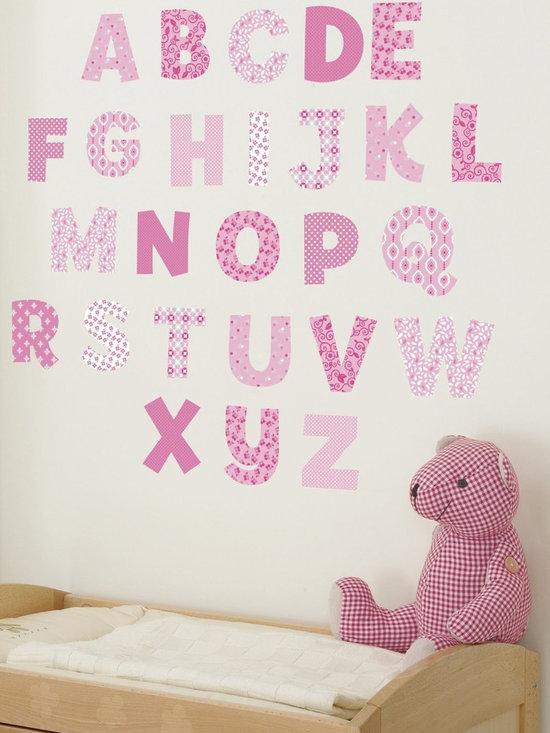 FunToSee - Nursery Alphabet Wall Decals Pink - 100% Vinyl