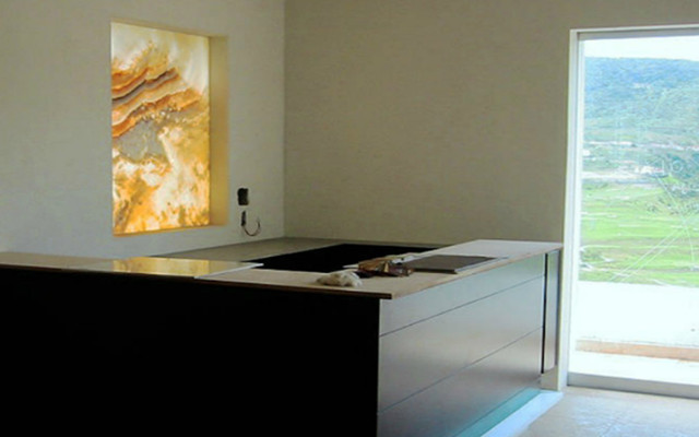 Beautiful, Elegant Luxurious Natural Stone Amber Back Lighted Onyx contemporary-entry