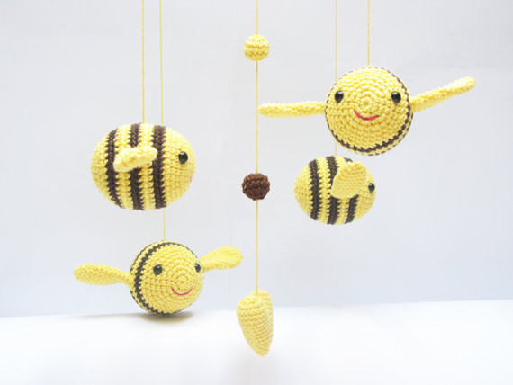 Baby Nursery Amigurumi Crochet Bumble Bee Mobile by Cherry Time modern-baby-mobiles