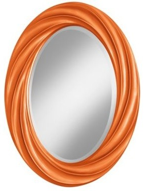 "Burnt Orange Metallic 30"" High Oval Twist Wall Mirror - Contemporary - Wall Mirrors - by Euro ..."