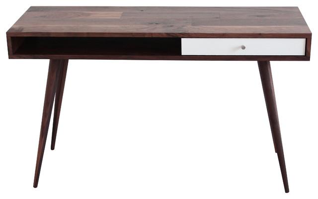 Mid Century Modern Laptop Desk Walnut Walnut Legs White Gloss Drawer Mid