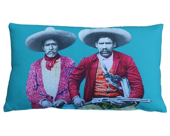 Pillow Decor - Pillow Decor - Dos Banditos Throw Pillow 12X20 - This funky multicolor pillow animates contemporary urban spaces with its fun and festive, vintage vibe. The two bandits' serious expressions contrast wonderfully with with the pink, blue, orange and green colors that make this throw pillow a spectacular accent piece.
