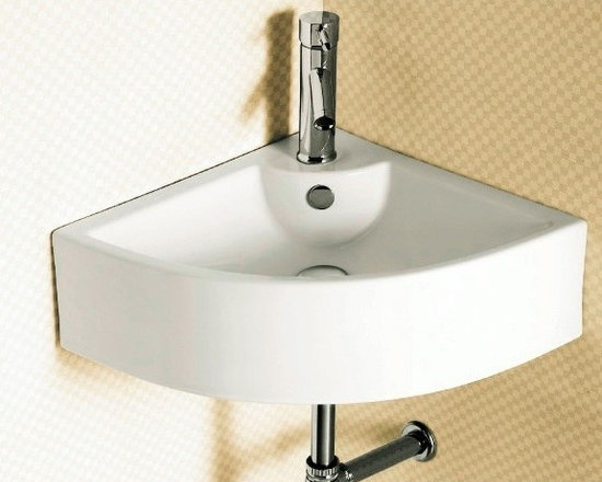 "Wall Mounted Corner Bathroom Sink By Caracalla - Looking to save space? This is the perfect sink for you. This wall mounted corner sink with overflow is made of high-qualiity ceramic. Sink dimensions: 18.9"" x 18.9"" x 6.7"""