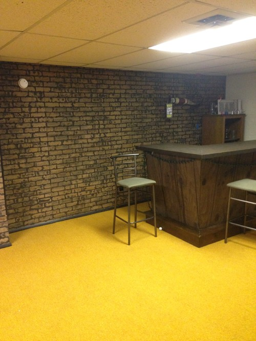 What to do with the basement walls brick paneling Painting paneling in basement