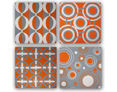 Hand Painted Original Orange & Gray Canvas Wall Art Set modern artwork
