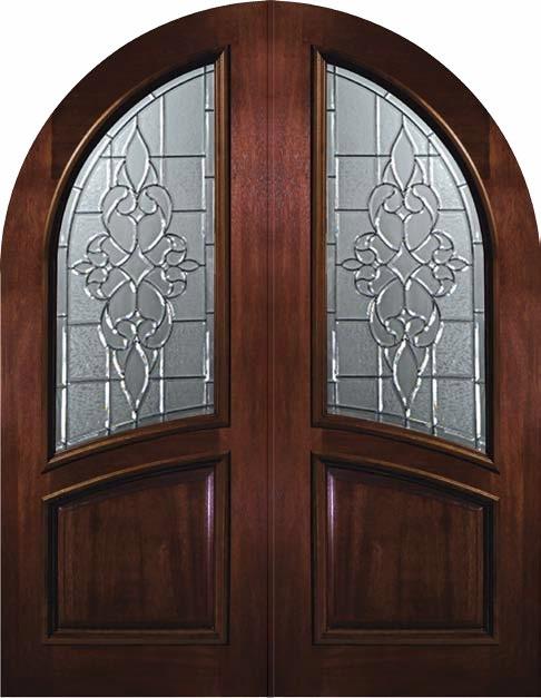 Slab Exterior Double Door 96 Wood Mahogany Courtlandt Round Top Glass Medit