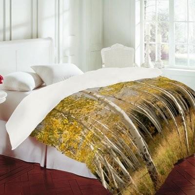 DENY Designs Bird Wanna Whistle Golden Aspen Duvet Cover modern-duvet-covers