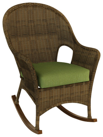 Rockport Outdoor Wicker Rocker Canvas Parrot Cushions Traditional Outdoo