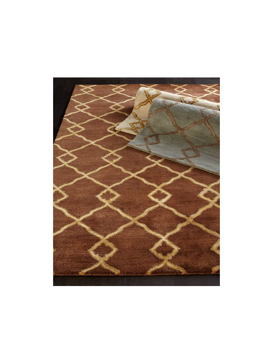 "Horchow - ""Crossing Diamond"" Rug - Enhance your floor with a hand-tufted rug of New Zealand wool/viscose in a mesmerizing pattern of overlapping diamonds. Select color when ordering. Cotton backing. Sizes are approximate. Imported. See our Rug Guide for tips on how to measure fo..."