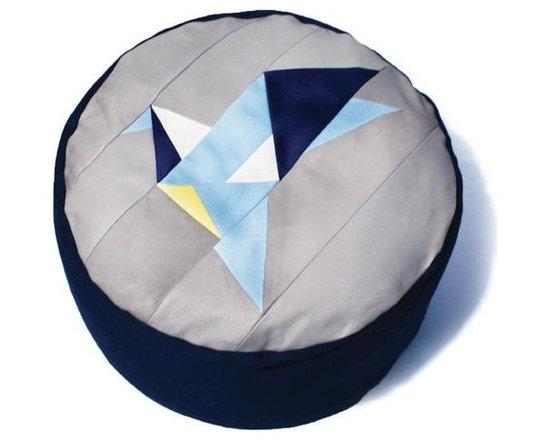 Bluebird Pouf - I love this patchwork pouf with the origami-like crane and handmade attitude.