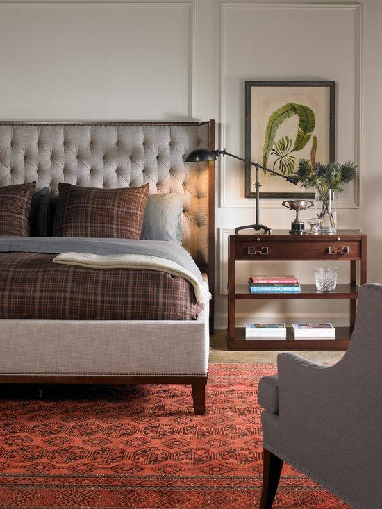 Vanguard Furniture - Michael Weiss - Vanguard Furniture, Michael Weiss Collection. W526K-HF Barrett King Bed. W354L-SU Hartley Lamp Table. W185-CH Hancock Chair.