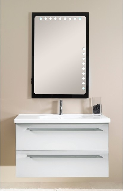 two drawer vanity set with lighted mirror contemporary bathroom vanities and sink consoles. Black Bedroom Furniture Sets. Home Design Ideas