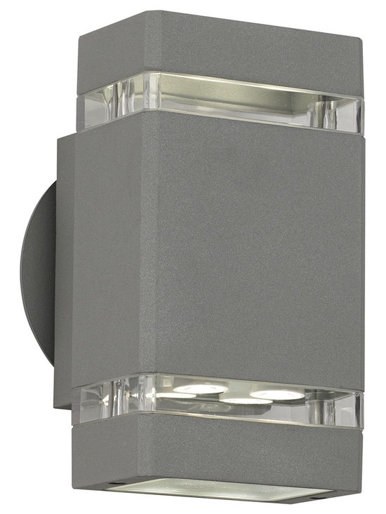 """Possini Euro Design - Matte Silver Gray 8"""" High LED Up/Down Outdoor Wall Light - When it comes to beautifying your home your outside space can feel neglected. After all you do spend most of your time with your interior furnishings right? Rectify that situation by installing this sleek contemporary outdoor wall light. It enhances your home's exterior with a lovely matte silver-gray finish clear glass and energy-efficient LED lighting in both up and down directions. From the Possini Euro Design outdoor lighting collection. Matte silver-gray finish. Clear glass. Includes eight 1 watt LEDs. Light output 455 lumens (compare to 40 watt incandescent bulb). Warm white 2900-3100K color temperature. LEDs from Cree Lighting. Not dimmable. 8"""" high. 4 1/4"""" wide. Extends 4"""" from wall.  Matte silver-gray finish.  Clear glass.  Includes eight 1 watt LEDs.  California Title 24 compliant.  Light output 455 lumens (compare to 40 watt incandescent bulb).  Warm white 2900-3100K color temperature.  LEDs from Cree Lighting.  Not dimmable.  8"""" high.  4 1/4"""" wide.  Extends 4"""" from wall."""