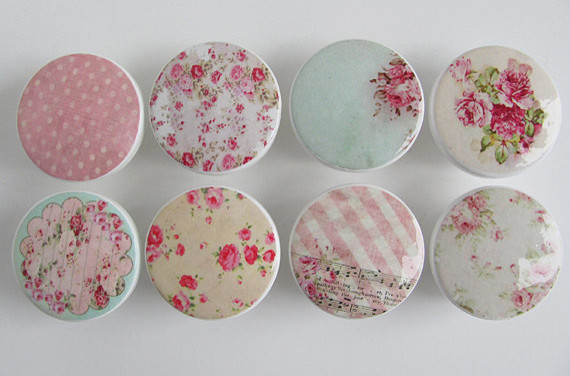 Girl's Pink Floral Drawer Knobs by Leila's Loft contemporary-knobs