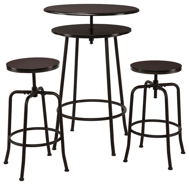 Kalomar 3 Piece Adjustable Pub Table Amp Stools Espresso