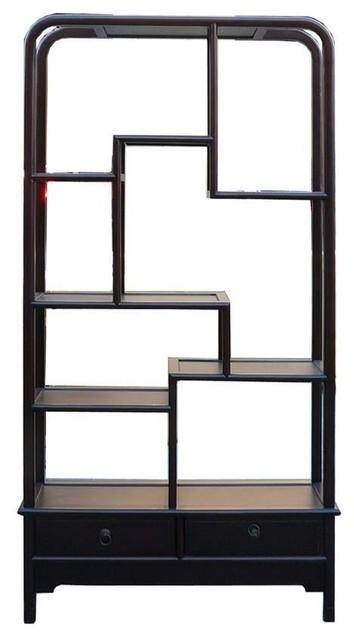Simple Oriental Uneven Open Curio Display Cabinet - Asian ...