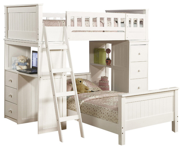 Safe Functional White Youth Twin Storage Loft Bunk Bed Drawers Study Desk Hutch - Contemporary ...