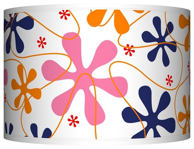 Contemporary Retro Pink Giclee Shade 12x12x8.5 (Spider) contemporary-lamp-shades