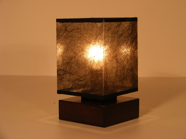 Basari Table Lamp One Light Square Wood Wenge Brown Base