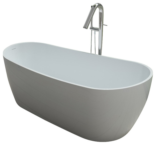 Adm free standing stone resin bathtub glossy modern for Freestanding stone resin bathtubs