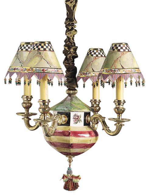 Torquay Chandelier - Red & Yellow   MacKenzie-Childs eclectic-chandeliers
