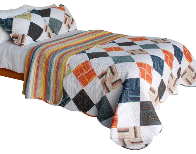 [Western Plaid] Cotton 3PC Vermicelli-Quilted Patchwork Quilt Set (Full/Queen) contemporary-quilts