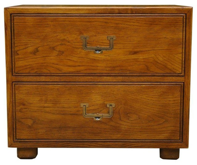 Pre-owned 1980s Henredon Modern Low Campaign Chest - Farmhouse - Accent Chests And Cabinets