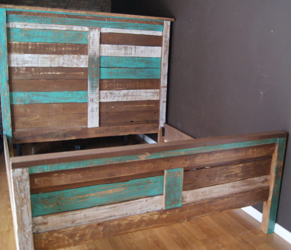 Shabby Chic Reclaimed Queen Bed Set by Furniture Farm beach-style-beds