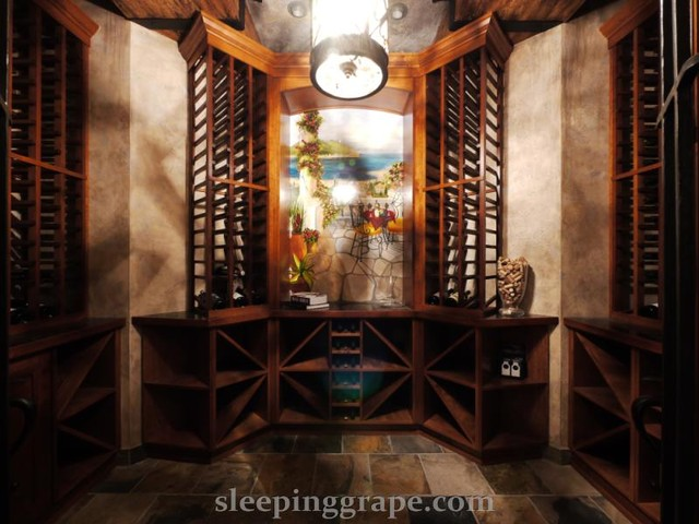 Curved Top Door Wine Cellar traditional