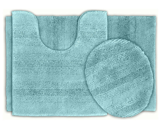 Sands Rug - Westport Stripe Sea Glass Washable Bath Rug (Set of 3) - Classic and comfortable, the Westport Stripe bath collection adds instant luxury to your bathroom, shower room or spa. Machine-washable, always plush nylon holds up to wear, while the non-skid latex makes sure rugs stay in place.