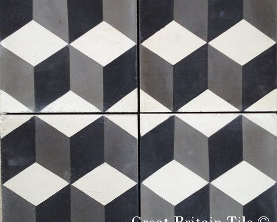 Cement Tile - Patterns - In stock cement tile - harlequin pattern - black, white, charcoal - 8x8