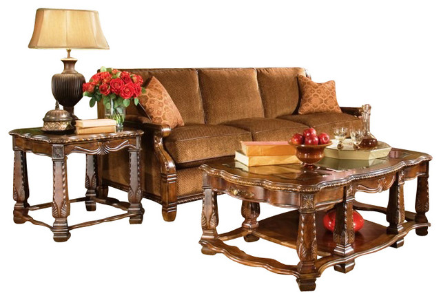 Michael Amini Windsor Court 3pc Coffee Table Set Traditional Coffee Tables