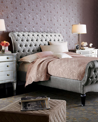 Haute House Platinum Tufted Bed traditional-beds
