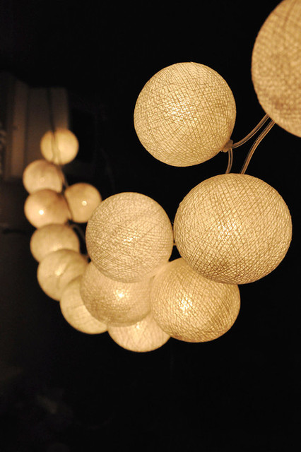 White String Garden Lights : Handmade White Cotton Ball String Lights by Ginew - Contemporary - Outdoor Rope And String ...