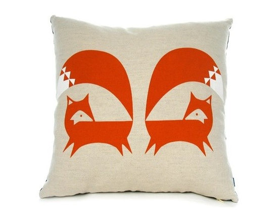 Burnt Orange Fox Cushion - Here's a cheeky fox cushion. Geometrically styled, of course!
