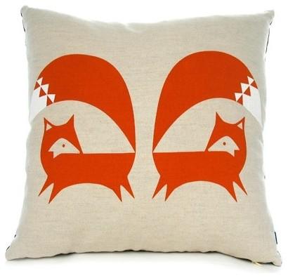 Burnt Orange Fox Cushion contemporary-decorative-pillows