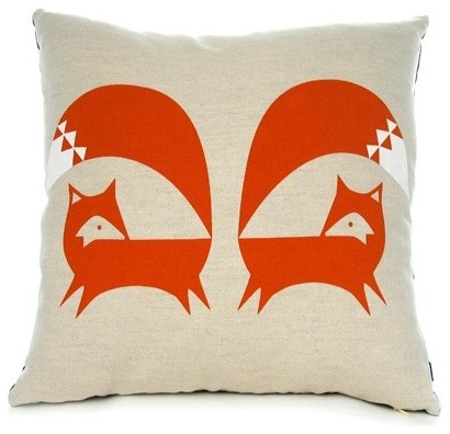 Burnt Orange Fox Cushion contemporary pillows