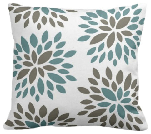 Dahlia Organic Pillow Cover, Light Teal and Khaki contemporary-decorative-pillows
