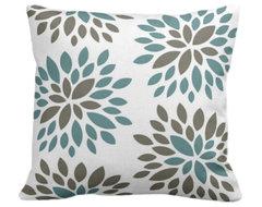 Dahlia Organic Pillow Cover, Light Teal/Khaki/Natural, 18 X 18 contemporary-decorative-pillows