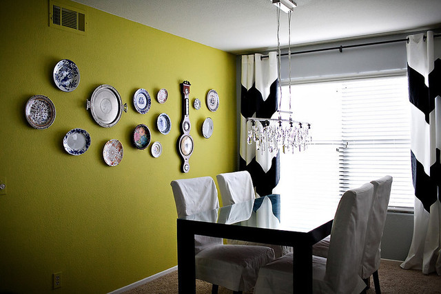 Chevron Curtains and Acid Green Vintage Plate Wall eclectic