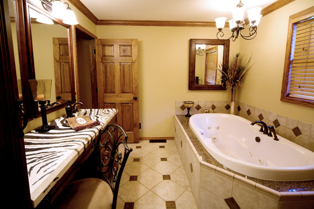 African Bathroom With Zebra Countertop Eclectic Bathroom St
