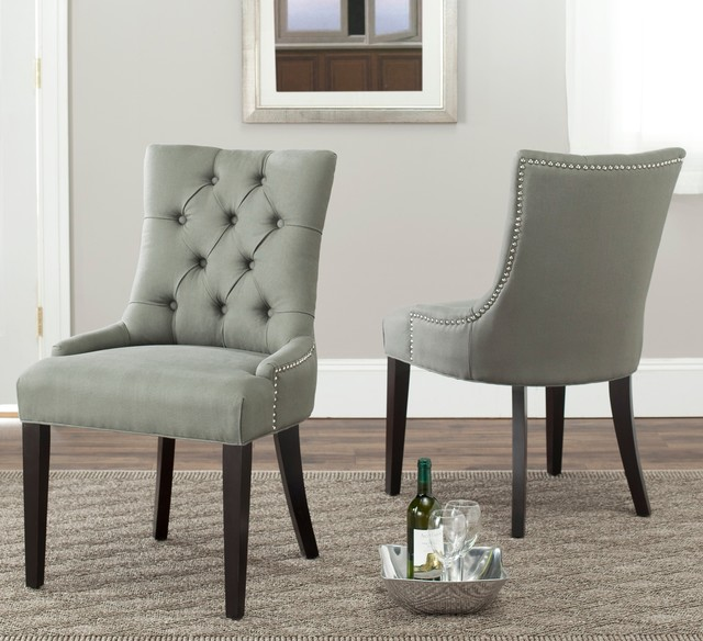 Marseille Grey Linen Nailhead Dining Chairs Set of 2