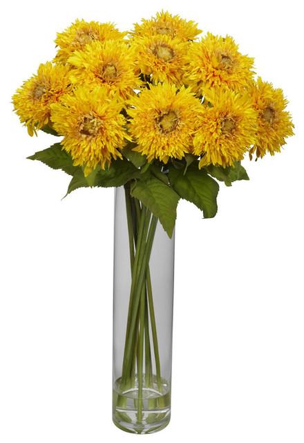 Sunflower with Cylinder Silk Flower Arrangement contemporary-artificial-flower-arrangements