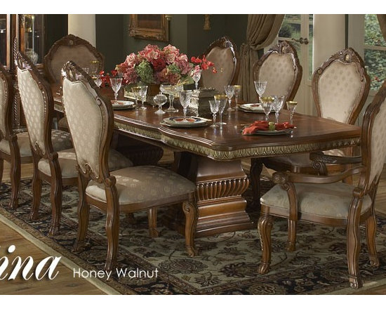 AICO Furniture - Cortina 9 Piece Rectangular Dining Table in Honey Walnut Finish - Set comes with table, 6 side chairs & 2 arm chairs
