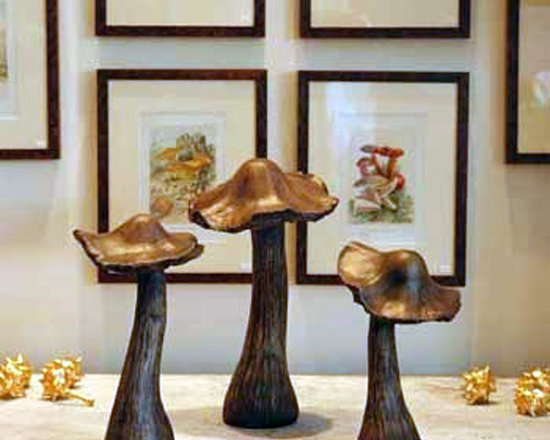 Marvelous Mushrooms (Set of 3) - Add a whimsical touch to your home or garden with this set of three decorative toadstools. Made from durable resin material and coated with a tough, weather-resistant, natural looking finish, they will last for years. Display them on a mantle or sideboard, among your plants or use it as an accessory to a gnome village.