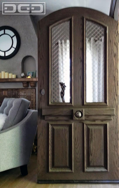 European Style Entry Door in Sandblasted Red Oak Wood, Architectural Window Mesh - Eclectic ...